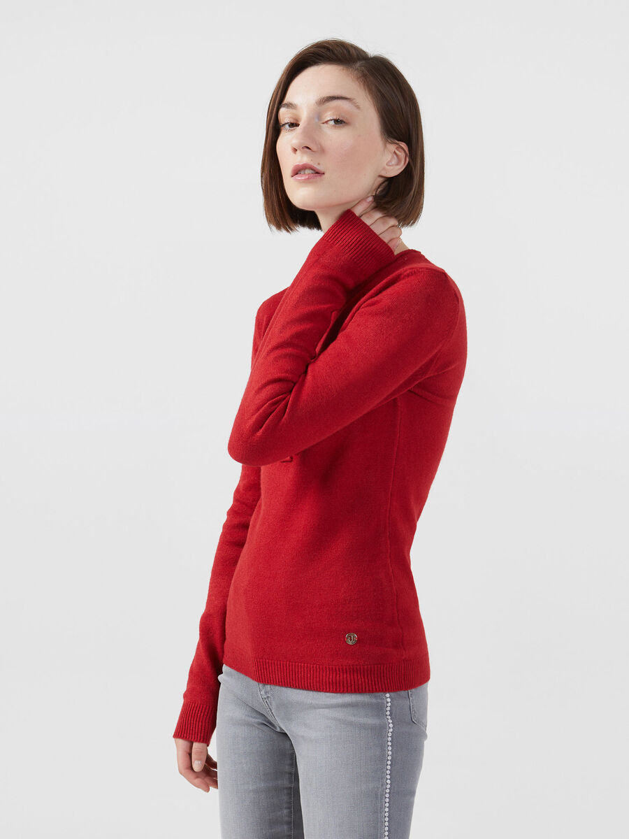 Stretch viscose pullover with logo