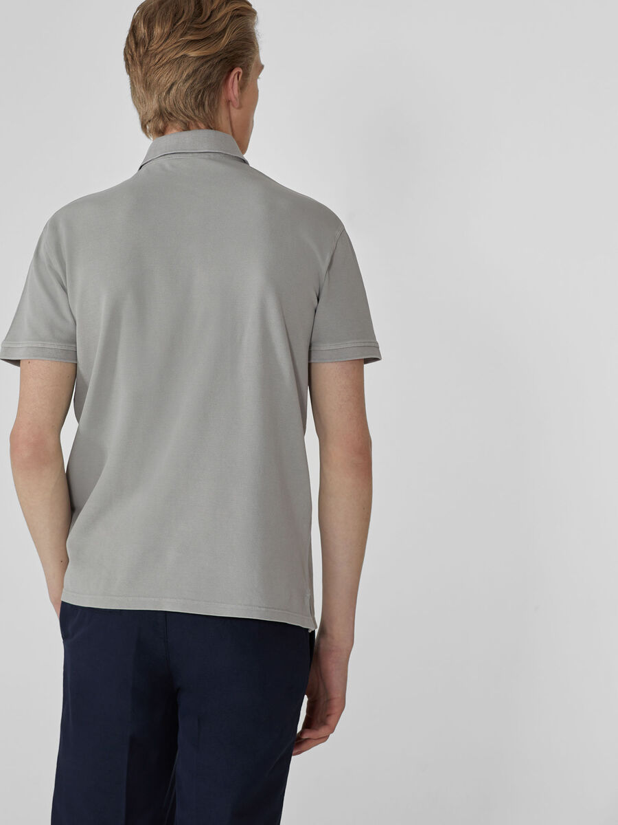 Regular-fit pique polo-shirt with breast pocket