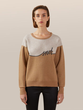 Pullover regular fit in lana e cashmere jacquard