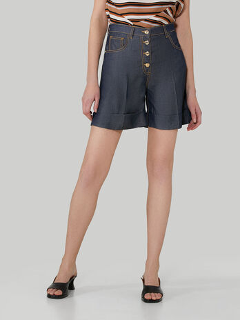 Tencel denim shorts with buttons