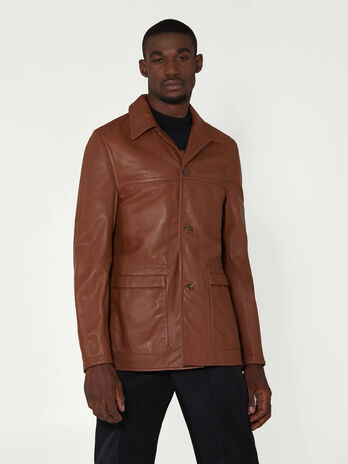 Regular fit leather jacket