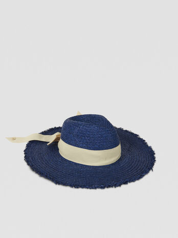 Raffia hat with contrasting ribbon