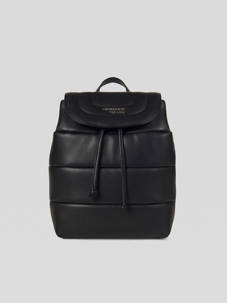 Small Soft Stripes backpack in faux leather with logo
