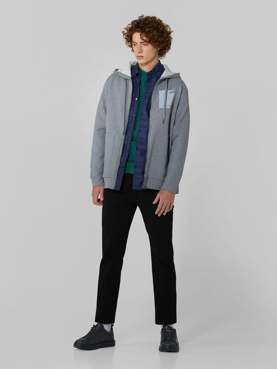 Felpa regular fit in cotone con zip
