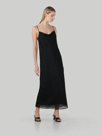 Langes Kleid aus Fil-Coupe-Gewebe