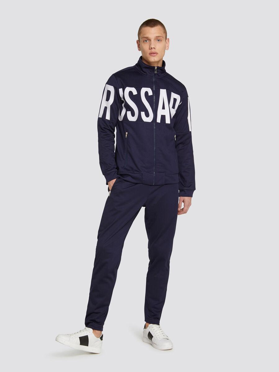Full zip sweatshirt in solid colour triacetate