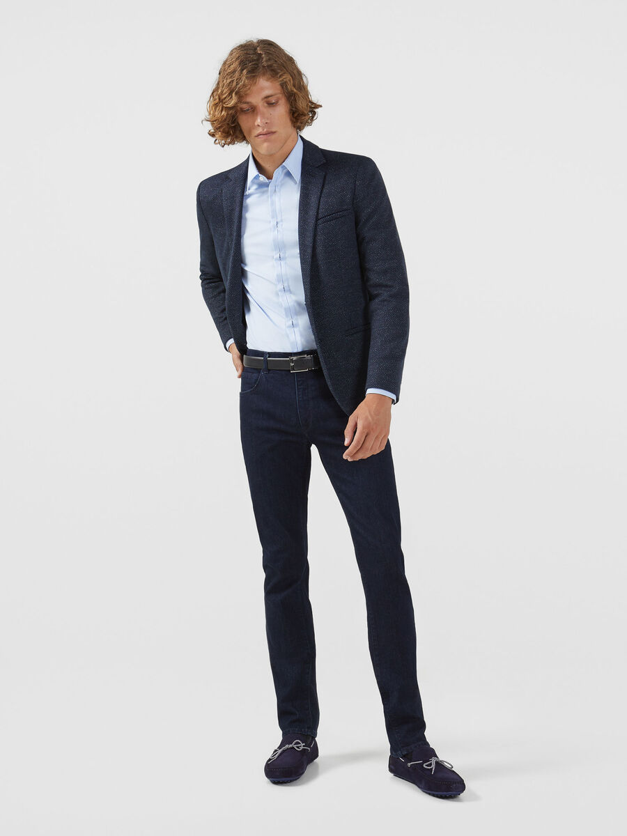 Regular fit stretch Oxford shirt with Miami collar