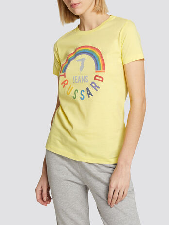 Regular fit jersey T shirt with rainbow print