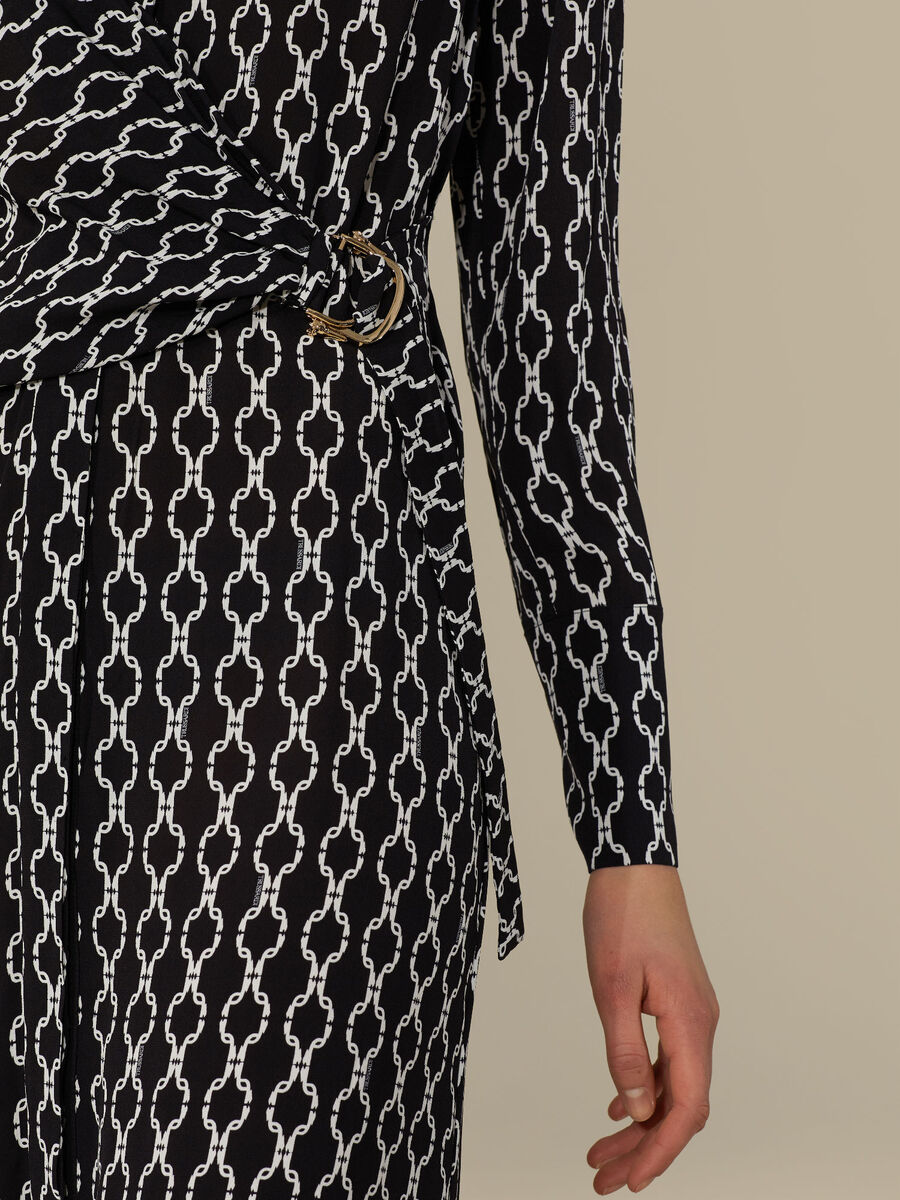 Regular-fit dress in printed viscose crepe