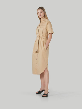 Gabardine shirt dress with pockets