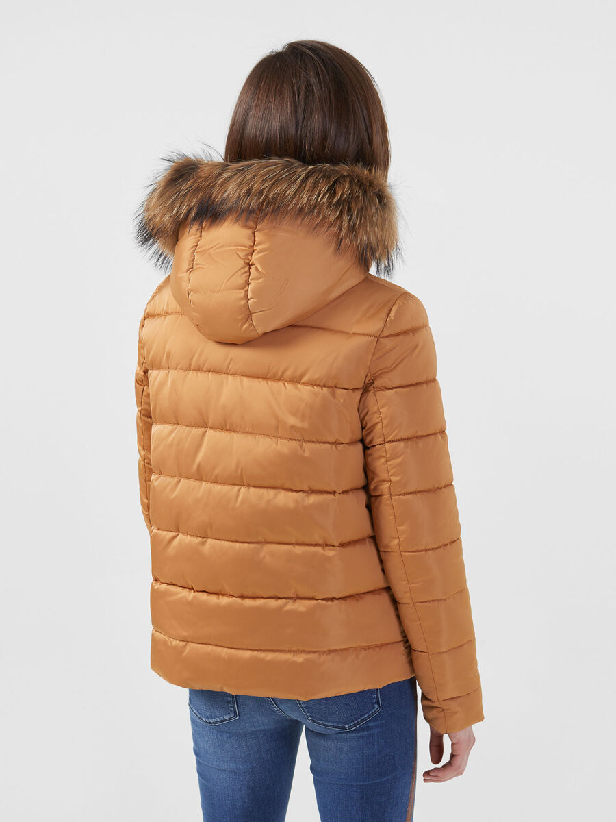 Regular fit nylon satin down jacket with fur