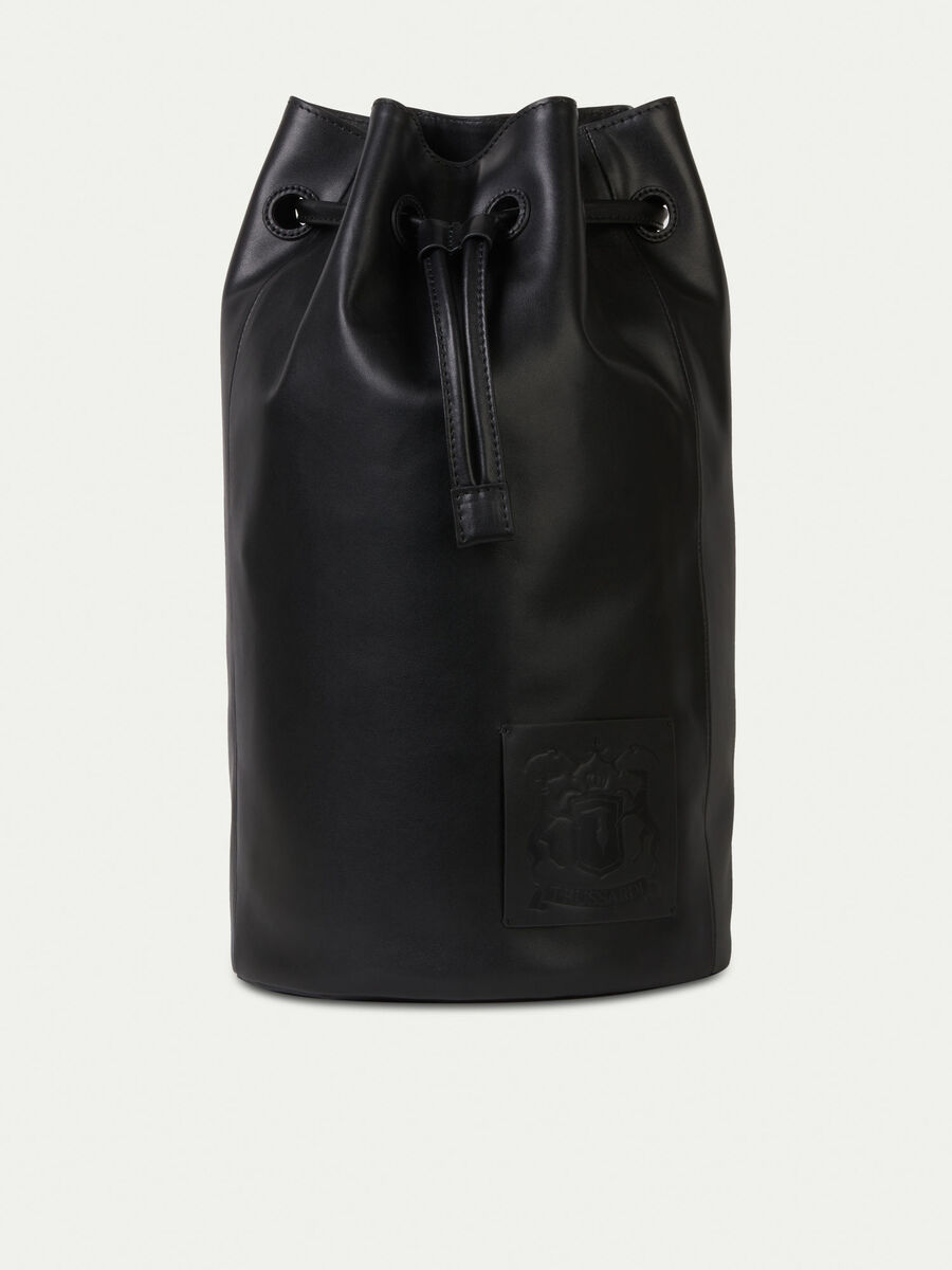 Leather drawstring bag with patch