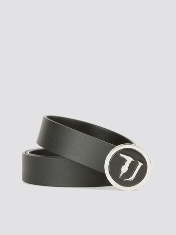 Guertel T-Easy aus Leder mit runder Logoschnalle