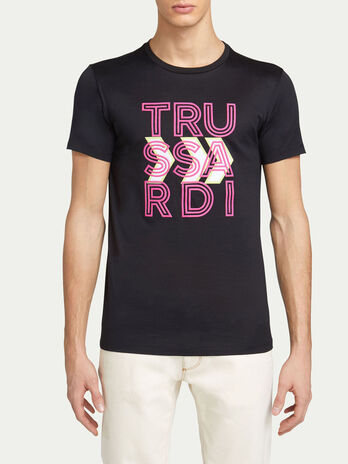 T shirt regular fit in jersey e maxi lettering logato