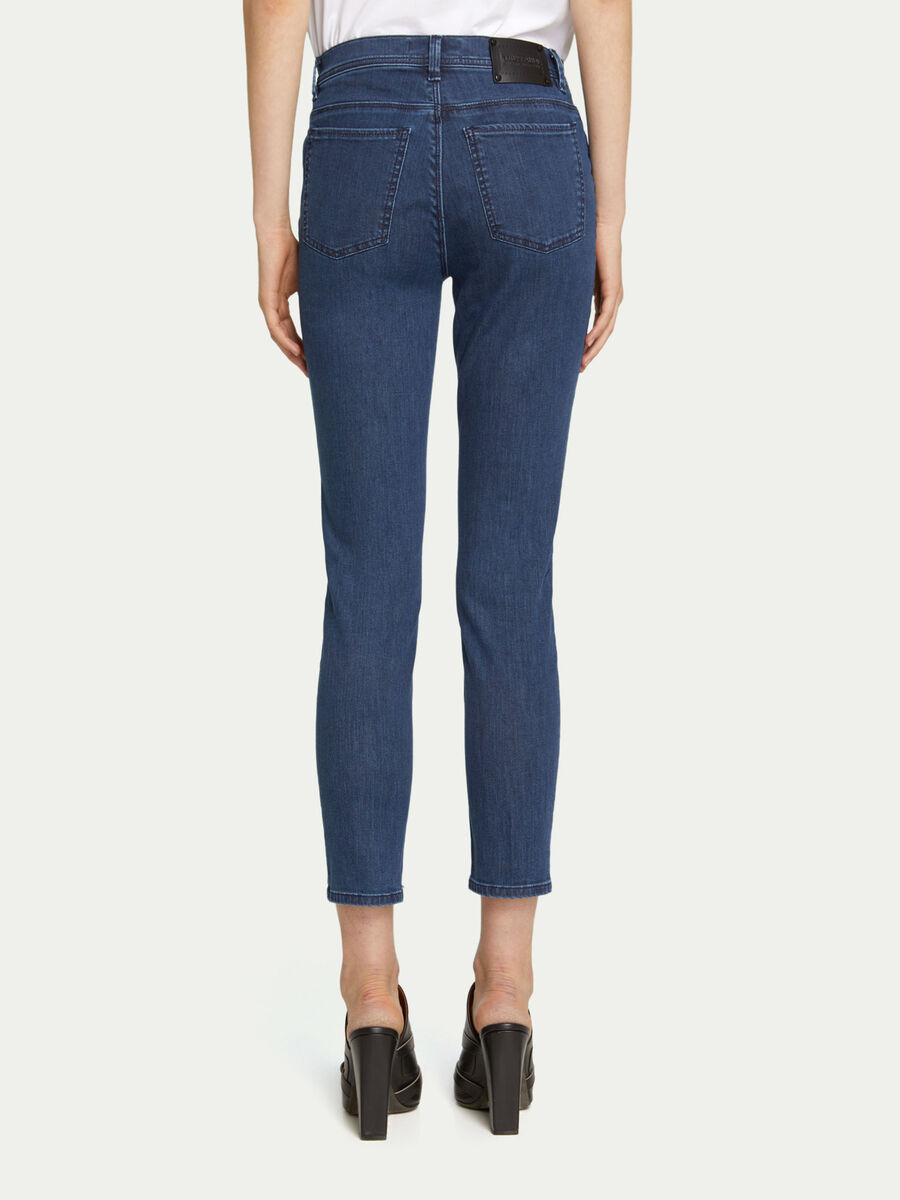 Jeans skinny denim a vita alta con cinque tasche