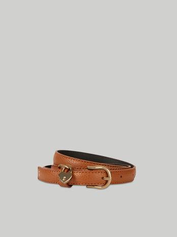 Deerskin-print leather belt with heart charm