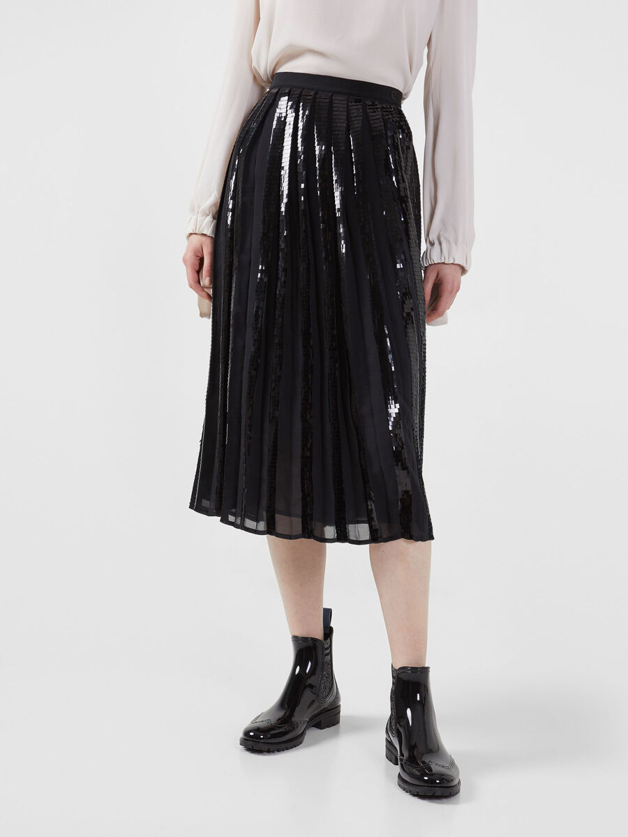 Pleated Georgette skirt with sequin embellishment