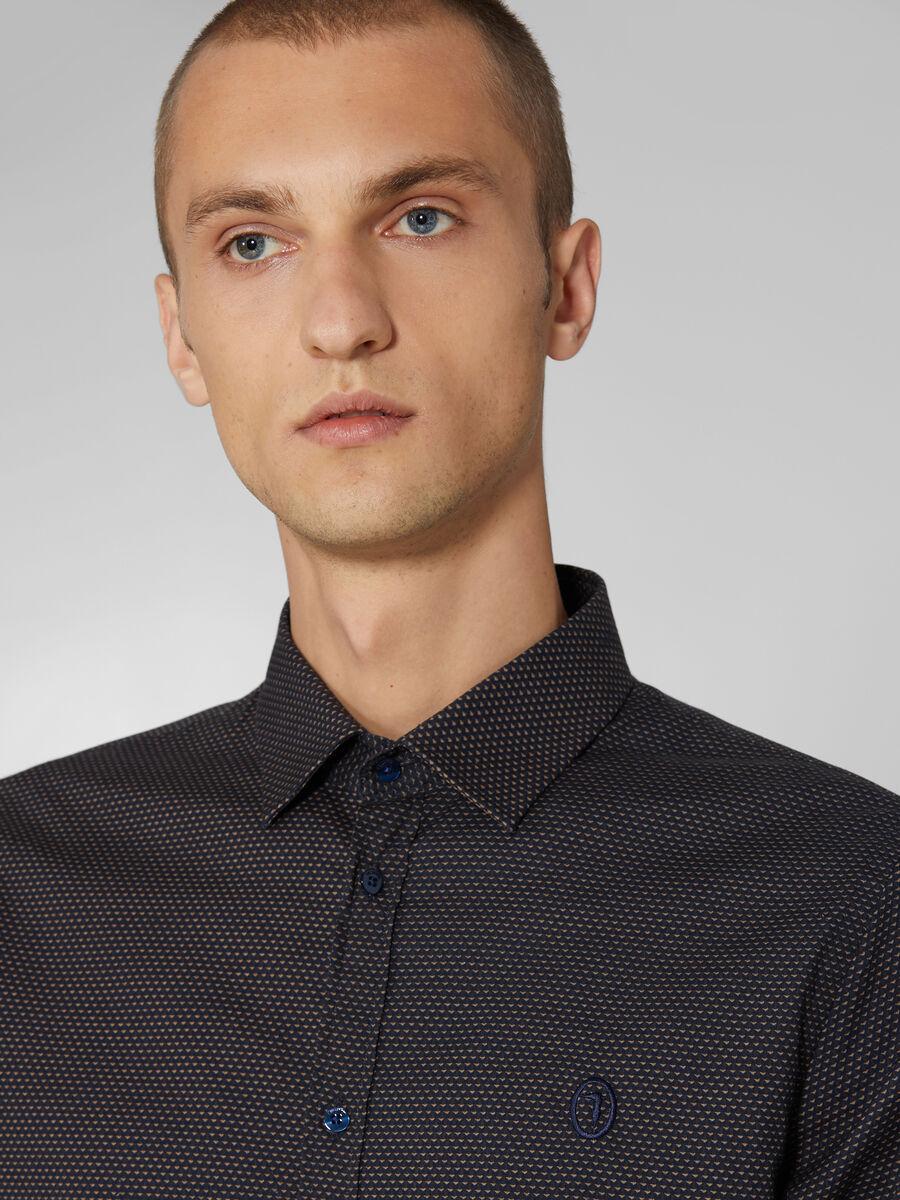 Camicia close fit in cotone micro fantasia