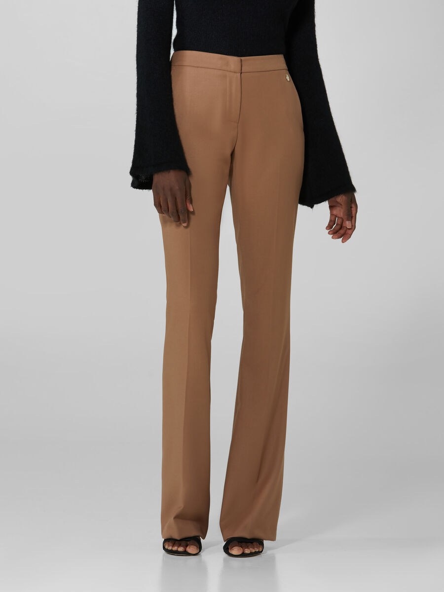 Flared flannel trousers