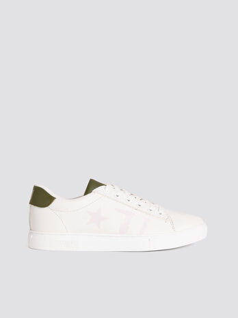 Solid colour faux leather sneakers with star and logo