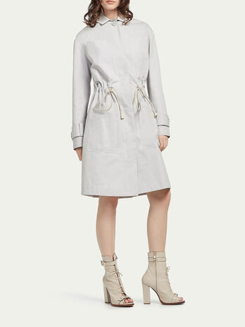 Gabardine trench coat with cord drawstring
