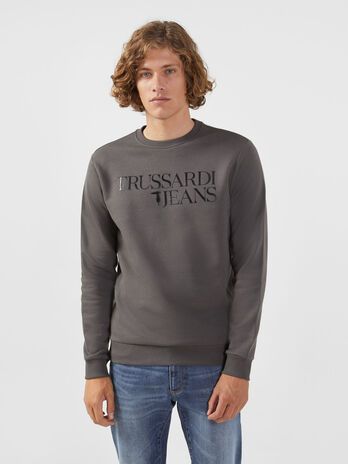 Cotton sweatshirt with lettering print