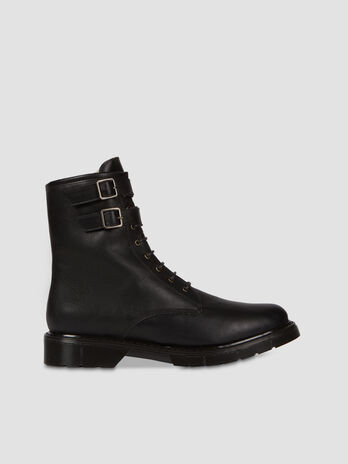 Combat boot in similpelle con fibbie