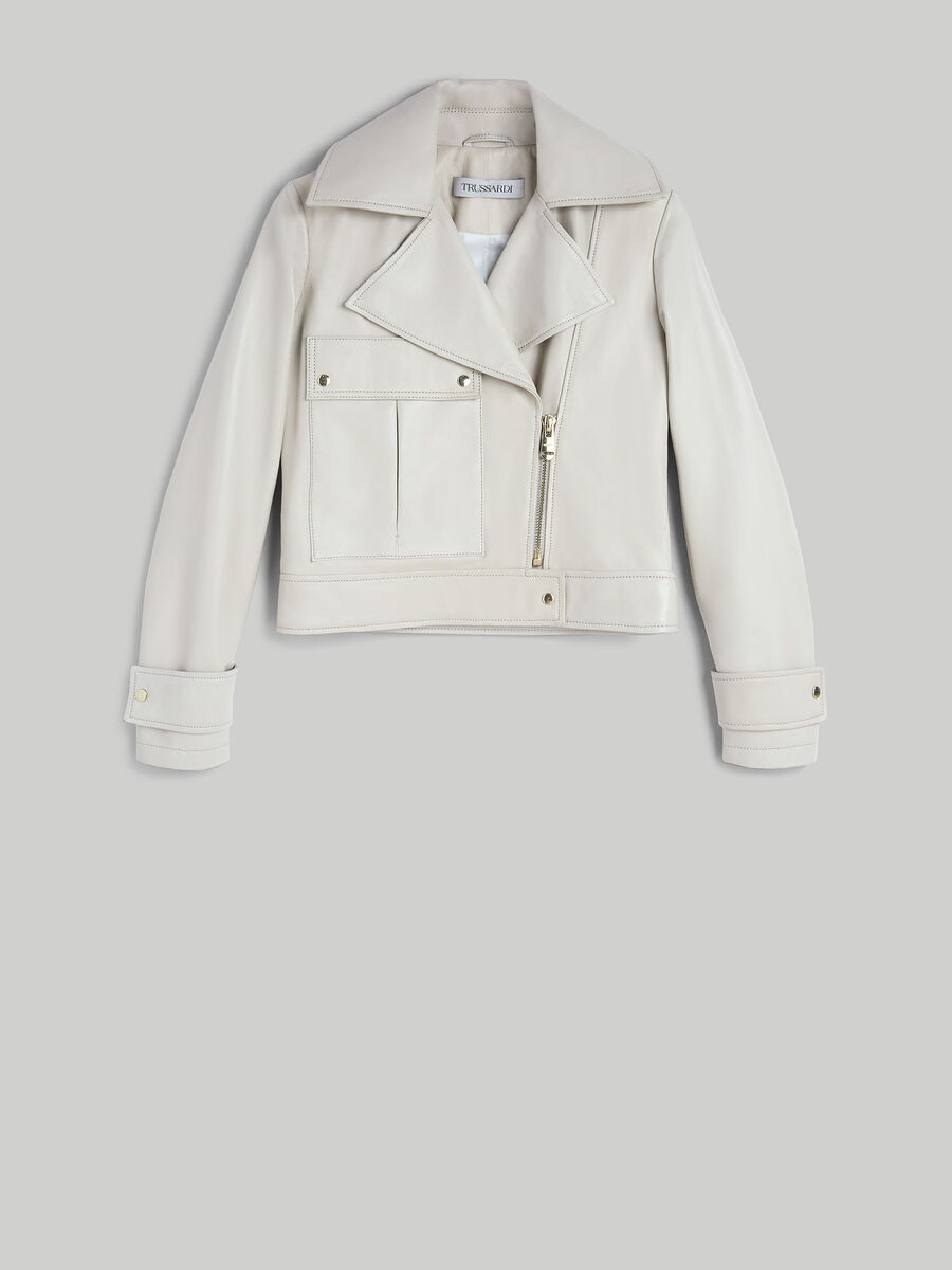 Giacca biker in pelle soft touch