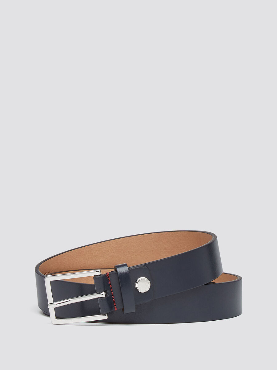 Leather belt with shiny finish buckle