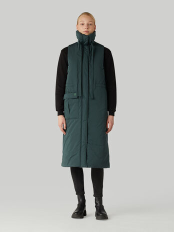 Long technical fabric gilet with drawstring