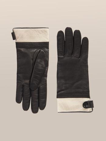 Handschuhe aus zweifarbigem Nappaleder