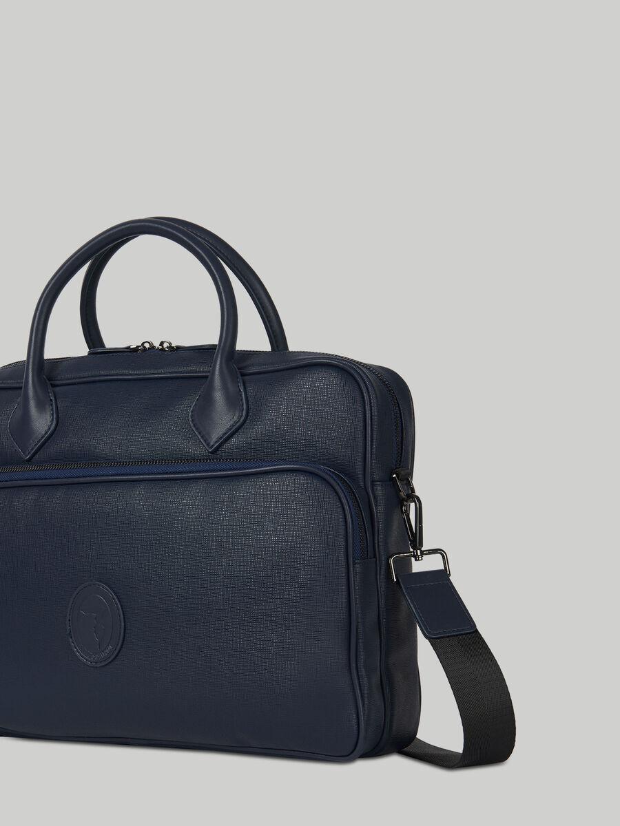 Urban briefcase in faux saffiano leather