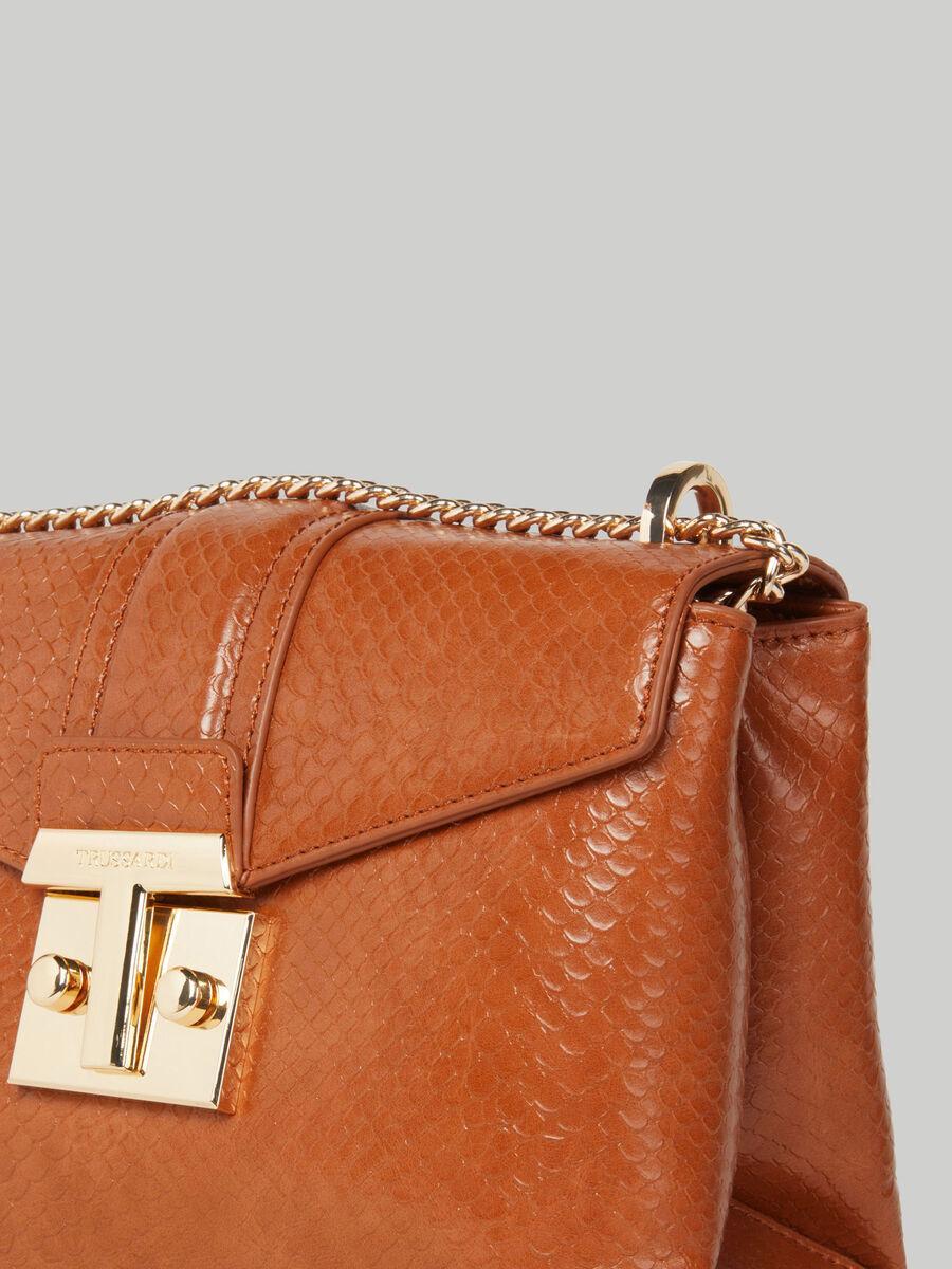Medium Tulip flap crossbody bag with python print