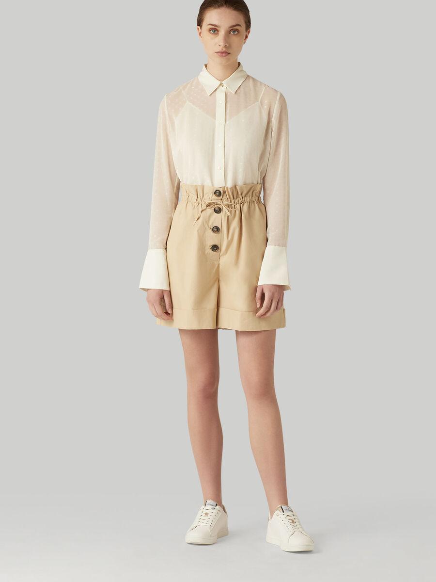 Poplin shorts with drawstring