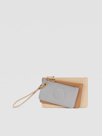 Faith clutch trio in hammered faux leather