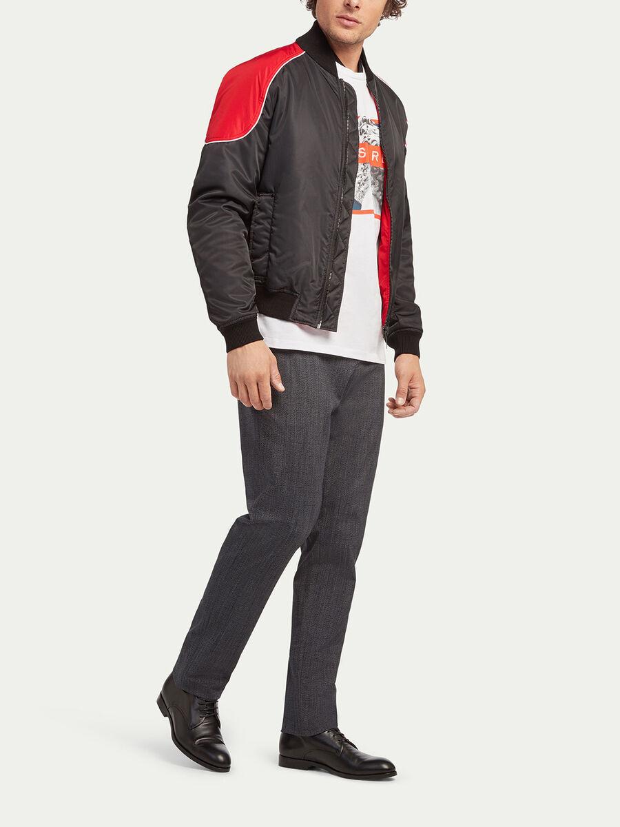 Regular fit flight style twill bomber jacket