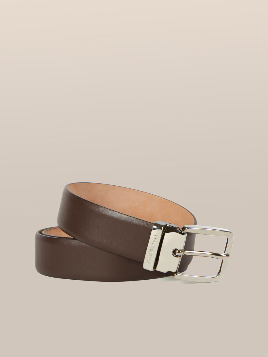 Nappa leather belt with branded buckle