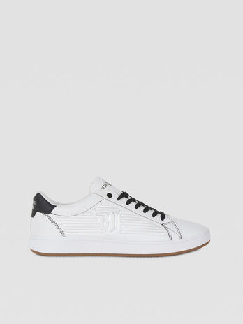 Faux leather sneakers with embossed logo