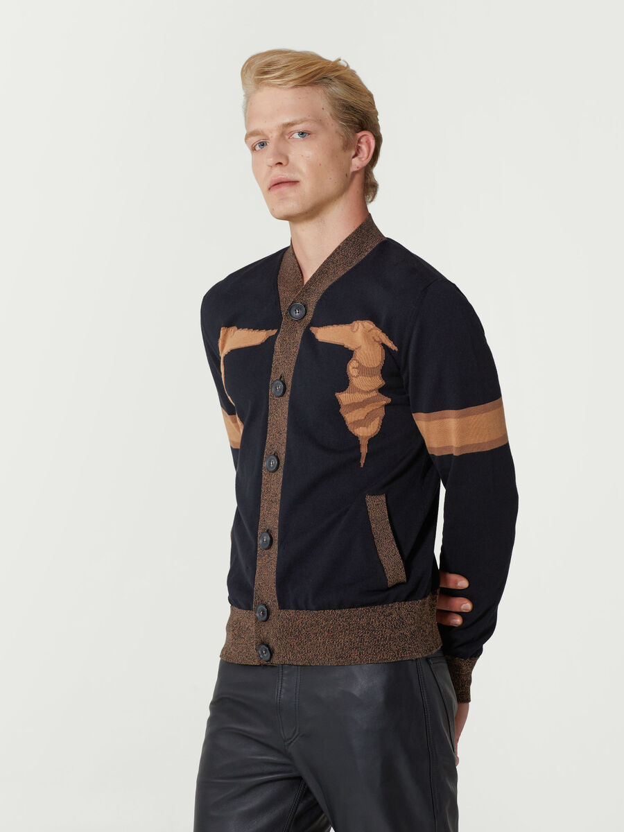 Cardigan regular fit in cotone jacquard