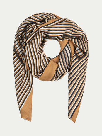 Striped silk and viscose pashmina with logo detail