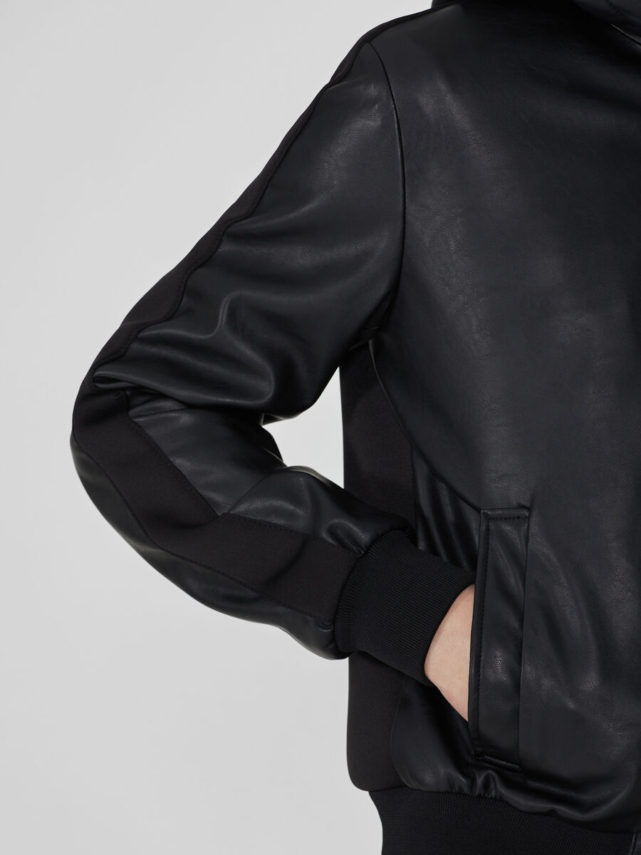 Soft faux leather jacket with hood