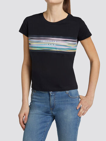 Cotton jersey T shirt with multi coloured stripe print