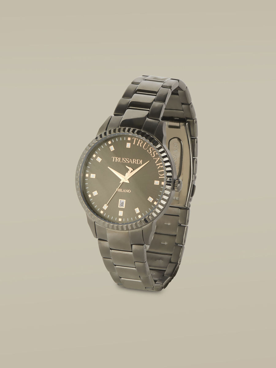 43-MM T-Bent watch with steel strap