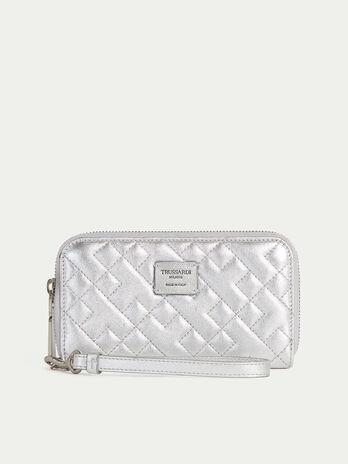 Laminated nappa phone case purse with wrist strap