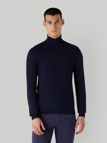 Slim-fit viscose-blend polo-neck pullover