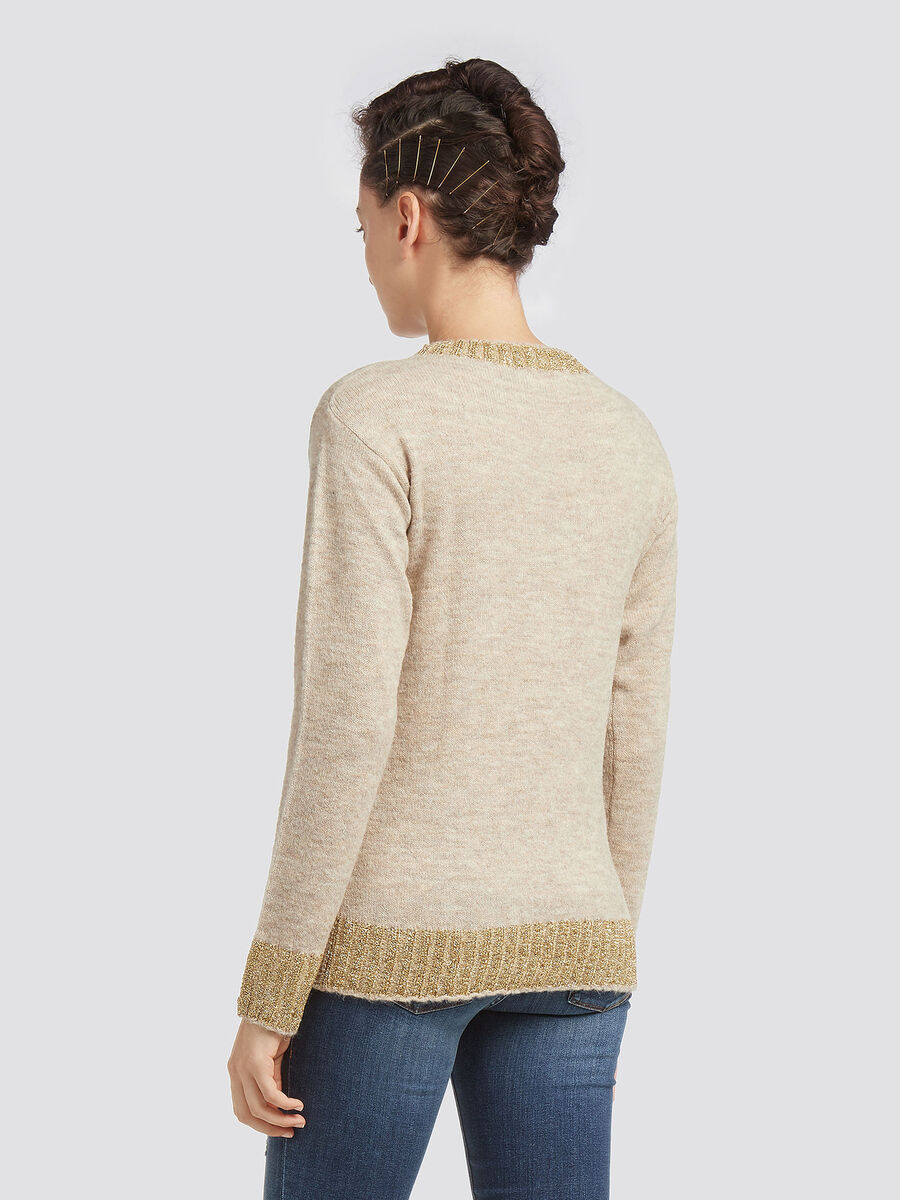 Stretch mohair pullover with round neck