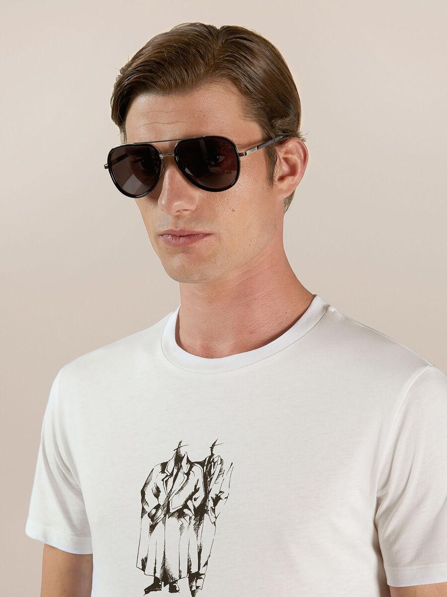 Aviator sunglasses in metal and acetate