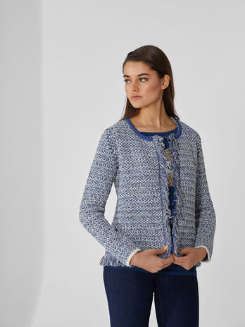 Cotton-blend cardigan with fringing