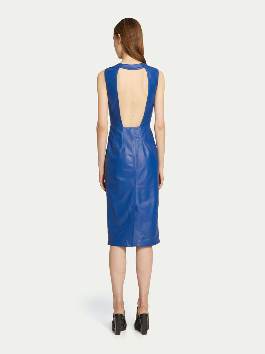 Slim fit leather dress with cut out back