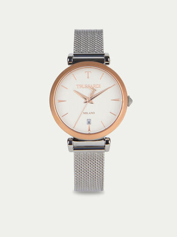 T-Exclusive watch with herringbone mesh strap